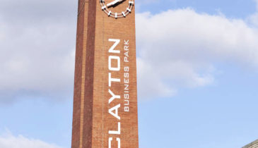 External image of the Clayton Business Park clock tower