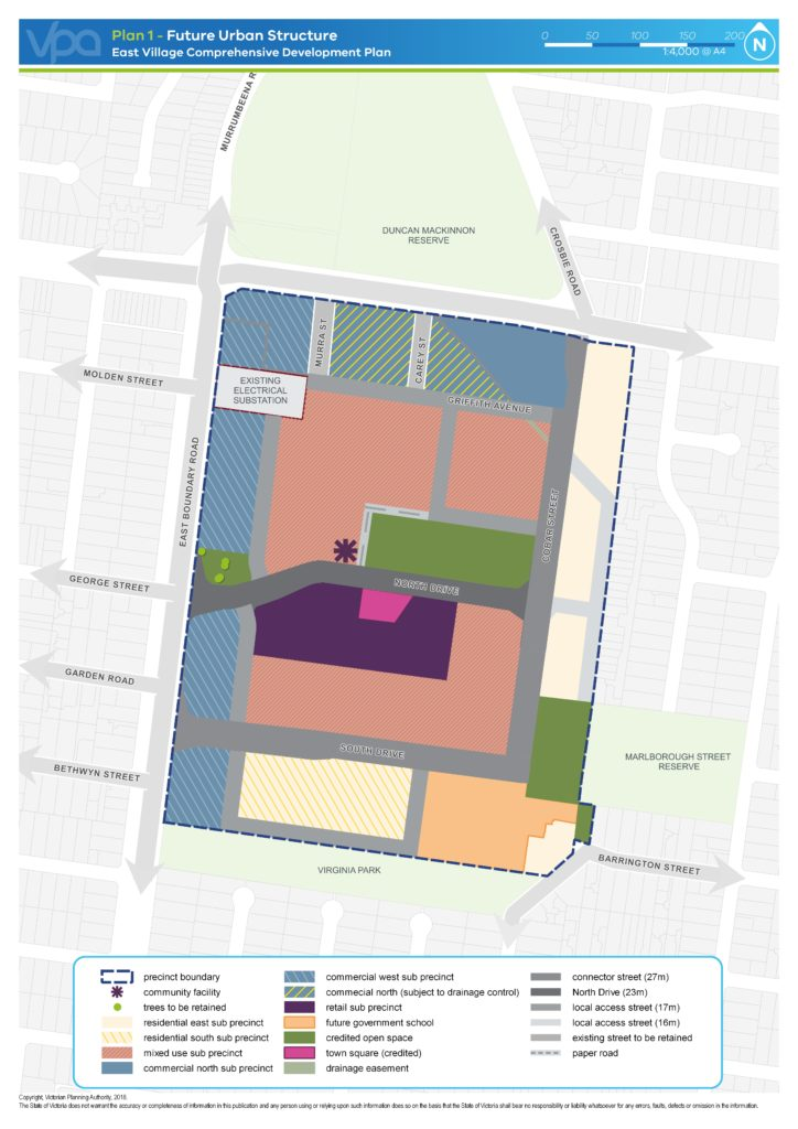 Future Urban Structure - East Village Comprehensive Development Plan map