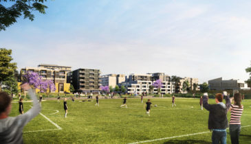 An artist impression of a sporting field