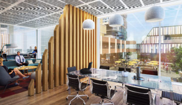 An artist impression of an office space