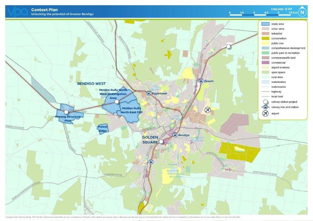 Map of the proposed Bendigo Context Plan