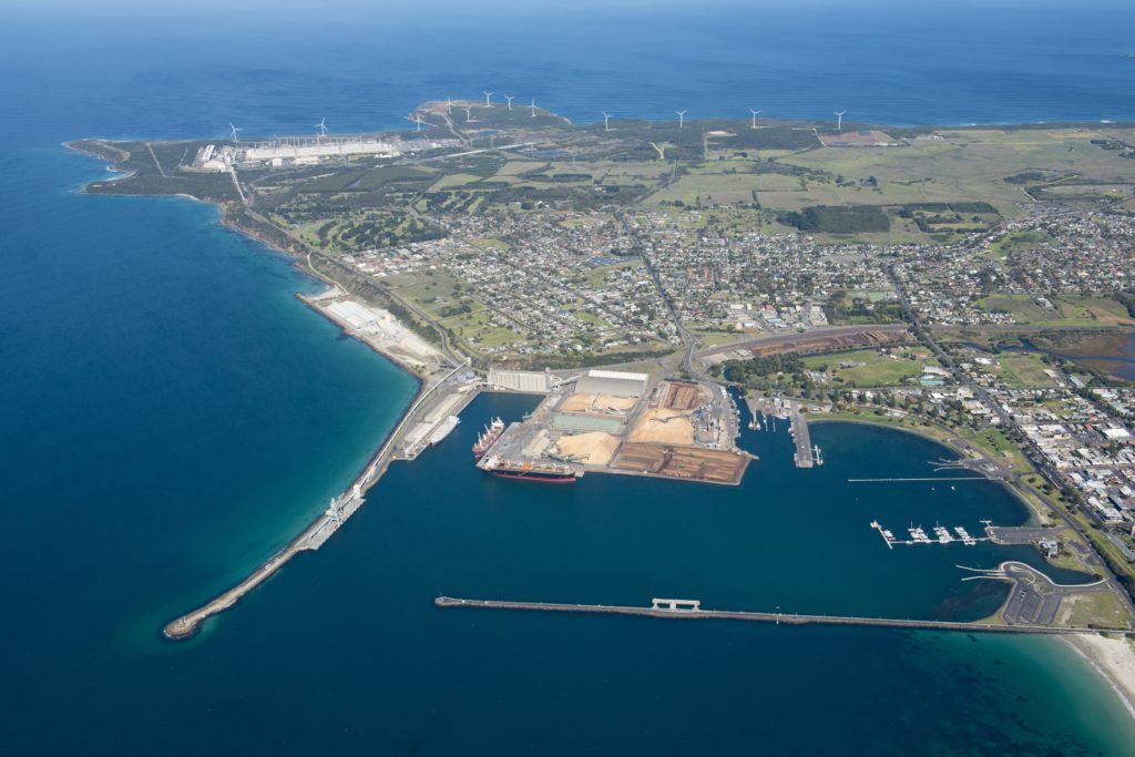 Aerial view of Portland harbour