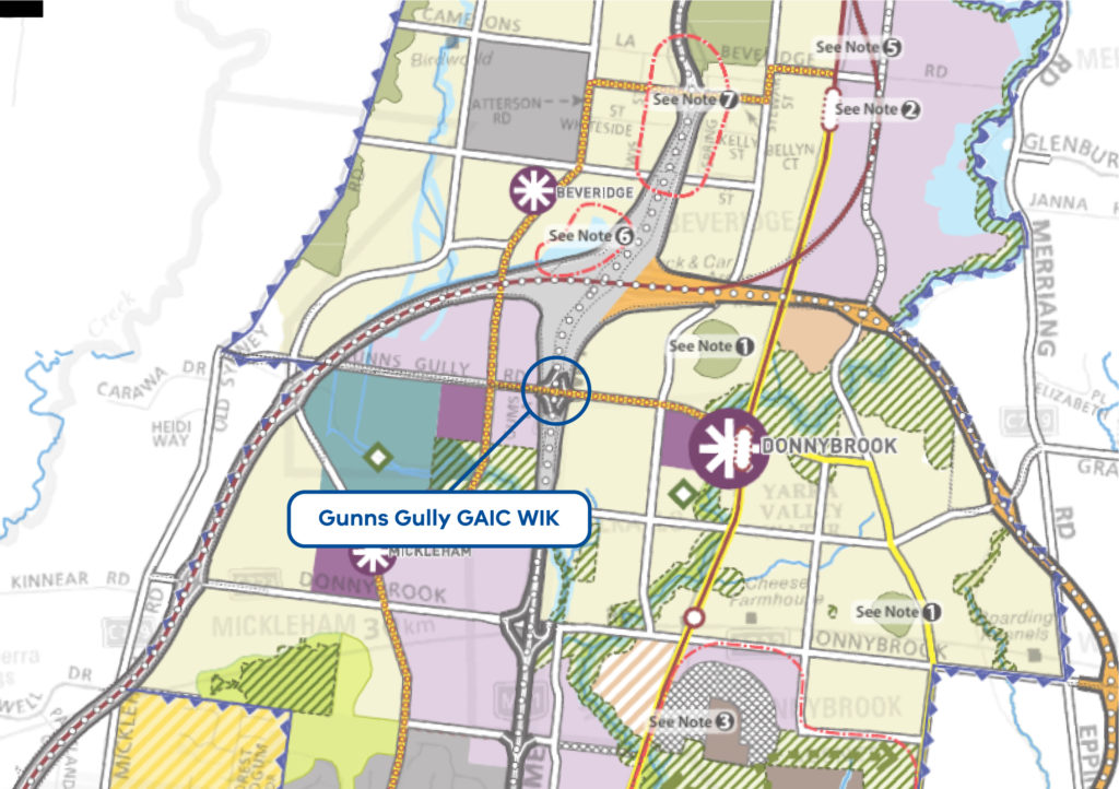 Map of the Gunns Gully interchange