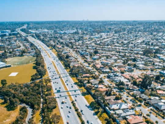 Aerial view of a road network