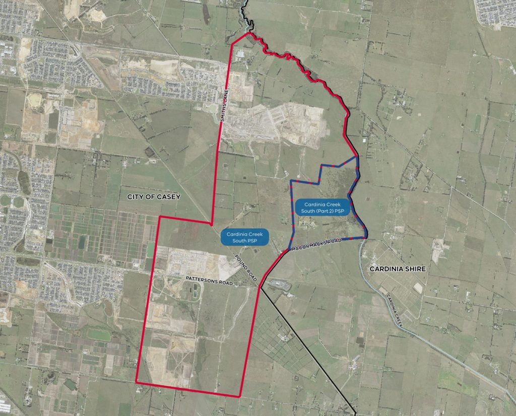 Aerial view of Cardinia Creek South Precinct Structure Plan Part 2