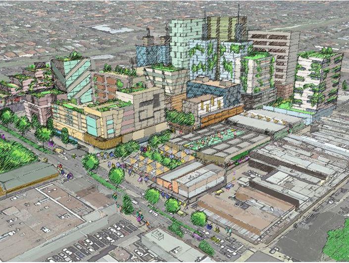 Aerial view of the proposed Preston Market Precinct